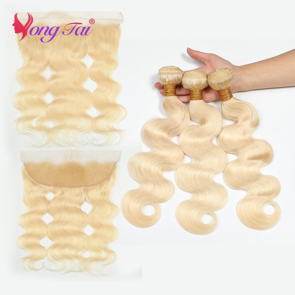 YuYongTai Hair 613 Blonde Body Wave Brazilian Hair Wave Human Hair 3 Bundles With 13*4 Frontal Remy Hair