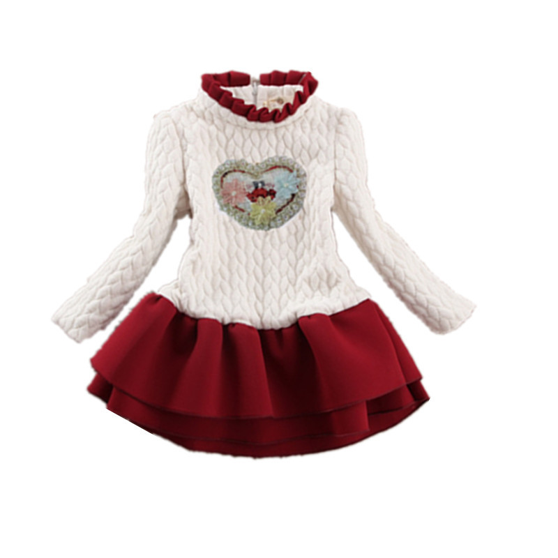 Baby Girl Winter Dress 2018 Long Sleeve Thick Dresses For 2-10 Years Kids Flower Floral Warm Dress Children Clothing KF516 wholesale boy girl floral beauty skullies colored rhinestone flower style luxury winter hats for children 3 12 year kid beanies