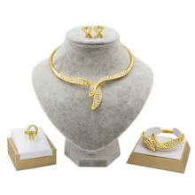 Indian Jewelry Gold Inlaid Rhinestone Jewelry Making W Jewelry Sets Necklace Bracelet Ring Earrings Engagement Jewelry Box