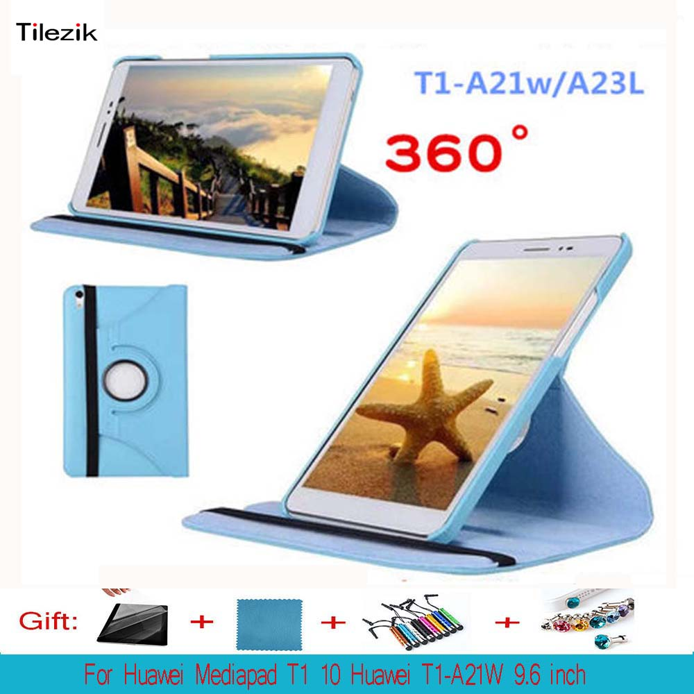 360 Rotating Folio Stand Leather Case Skin Cover Shell For Huawei Mediapad T1 10 T1-A21W T1-A23L 9.6 Tablet PC+Film+Pen