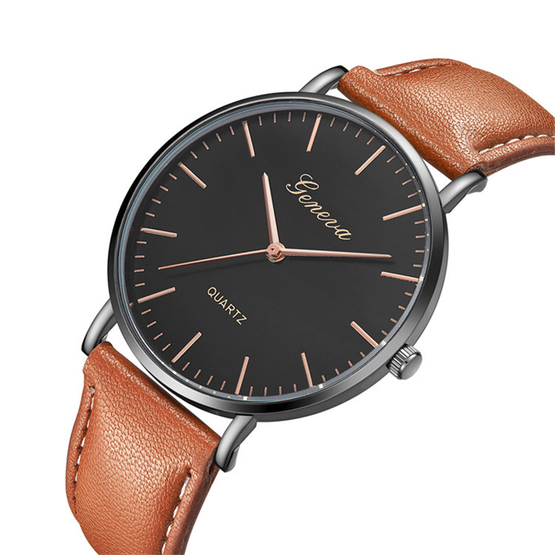 AAA Luxury 2019 Brand Watch Men Black Dial Gold Case Men's Watches Fashion Leather Band Quartz Watch For Men Relogio Masculino(China)