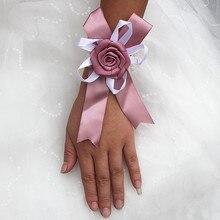 6 piece/lot Satin Bridesmaid Silk Corsage Wrist For Wedding Artificial Flower Bridal Groom Decoration SW07