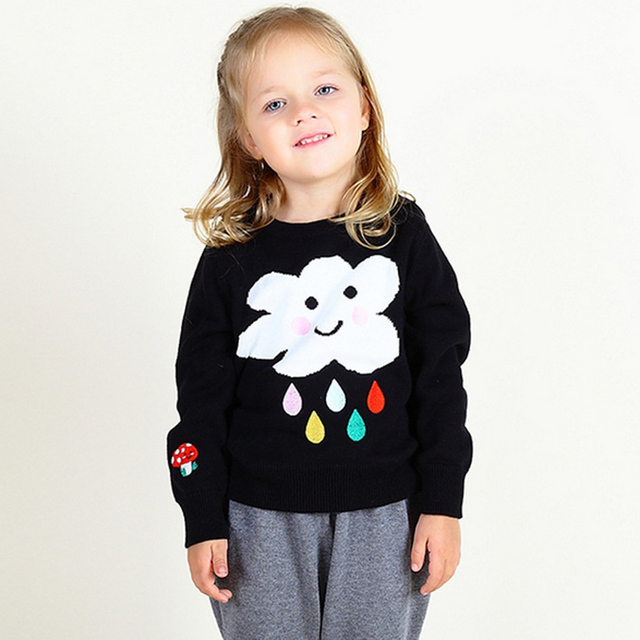 ee63973f6 2017 Girls Cotton Knitted Sweater Baby Girl Cloud Rain Pattern ...