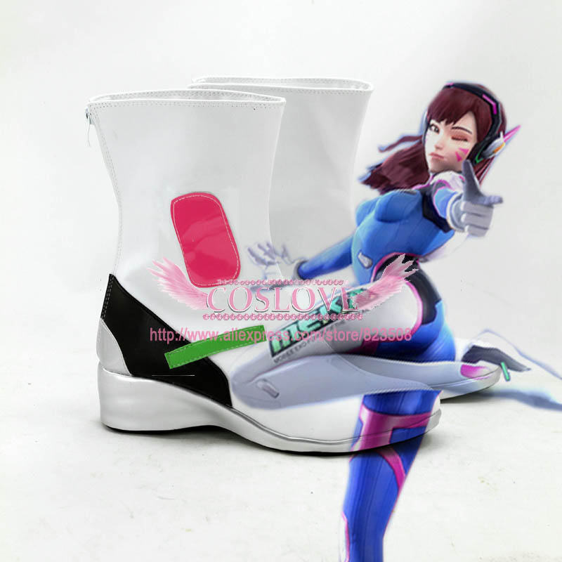 OW Game D.Va <font><b>DVa</b></font> Hana Song Black White <font><b>Shoes</b></font> Cosplay Boots CosplayLove image