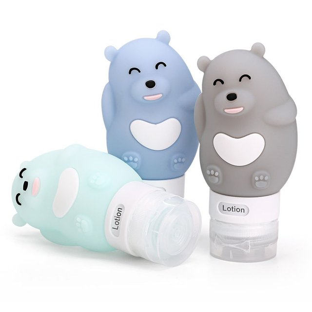 6bf638a8cf34 Portable Soft Silicone Travel bottles Set 3 Leak Proof Travel Size Silicone  Containers Perfect for Shampoo and Lotion bear -in Travel Accessories from  ...