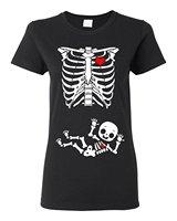Sommer Mode T-shirt Damen Jungen Skeleton Schwangere (nicht mutterschaft) DT Schwarz T-Shirt Hohe Qualität Top Tees Slim