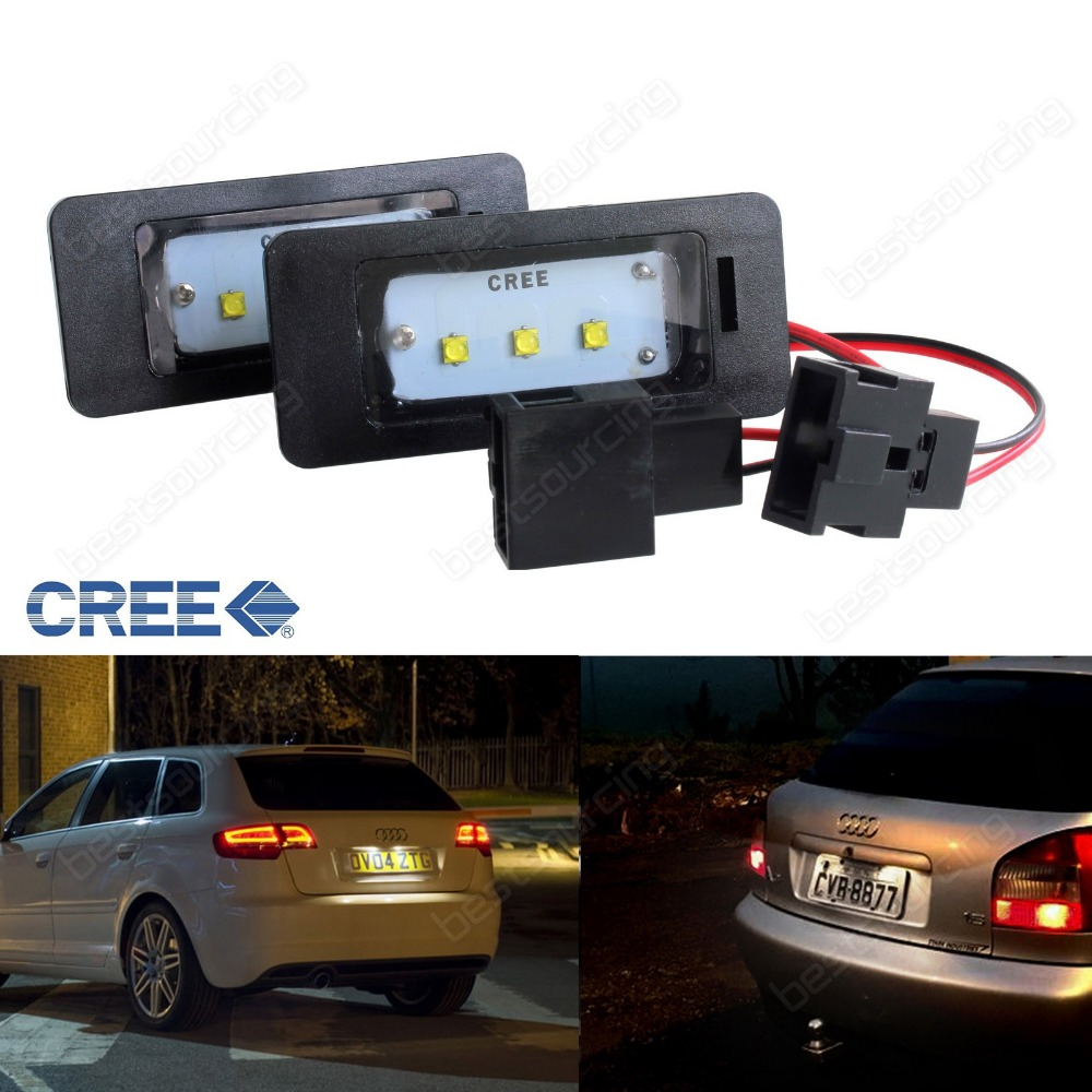 LED License Number Plate Light No Error A1 A3 A4 S4 A5 A6 S6 A7 Q5 TT Golf Plus MK6 2009+ Seat Ibiza / ST MKV (CA248) 2pcs 18 led 6000k license number plate light lamp12v for audi a3 s3 a4 s4 b6 b7 a6 s6 a8 q7 no canbus error