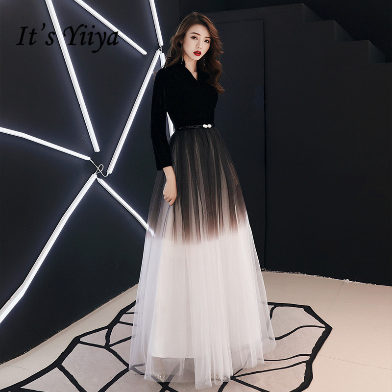 It's YiiYa Evening Dress Black Gradient Color Long Formal Gown Three Quater Sleeve V-neck Fashion  Party Gown E012