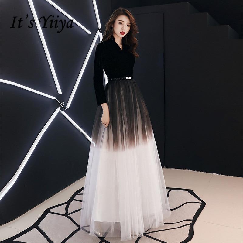 3fd6605c278 It s Yiya вечернее платье черного цвета градиентного цвета длинное вечернее  платье три четверти рукав v-