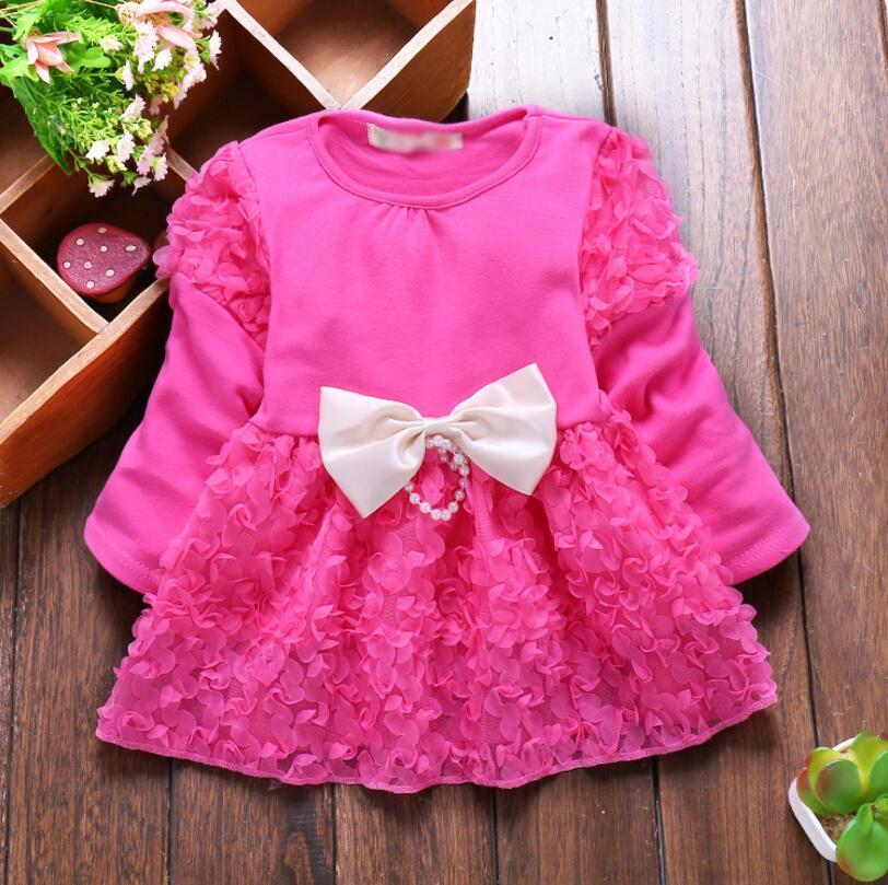 2017 Spring Summer Sweet Baby Girl Dress Long Sleeve 1 Year Baby Birthday Dress Newborn Bow Infant Girls Party Dresses