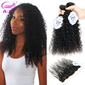 Afro Kinky Curly Hair With Frontal Closure 8A Mongolian Kinky Curly Hair With Closure 3/4 Bundles Curly Human Hair With Frontal