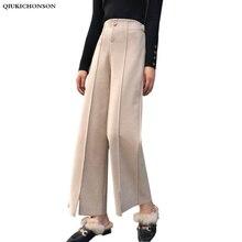 Pantalones de pierna ancha de lana para mujer, pantalón elegante, de cintura alta, a la moda coreana, palazzo