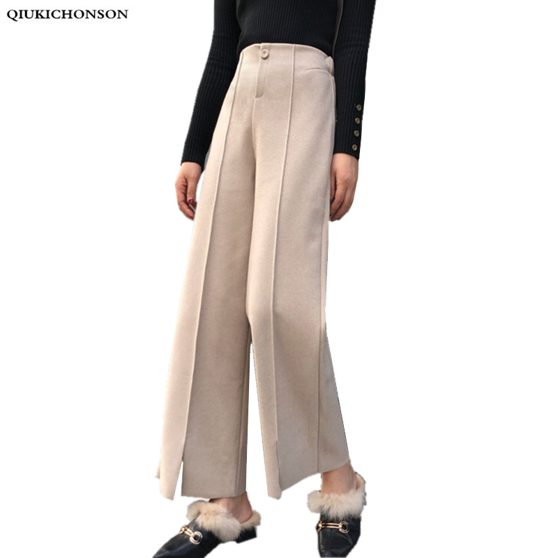 Women Autumn Winter   Pants   Elegant High Waist Wool   Wide     Leg     Pants   Trousers Korean Fashion   Legs   Slit Ladies   Pants   pantalon palazzo