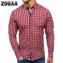 ZOGAA 2019 Men Shirt Long Sleeve Plaid Dress Shirts Breathable Fit Business Casual Absorb Sweat