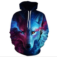 YYFS Autumn Winter Fashion Lion Ancient Digital Printing Men/Women Hooded Hoodies Cap Windbreaker Jacket Sweatshirts 2018