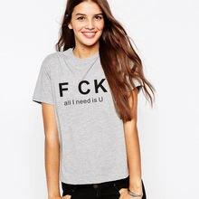 Забавные хлопковые футболки с принтом all i need is u для женщин