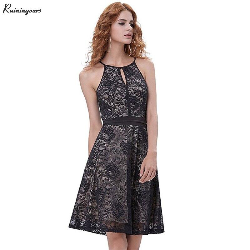 2019 sortie dentelle creux partie licou cou genou longueur robe sans manches d'été moderne femme robe de soirée femmes grande balançoire