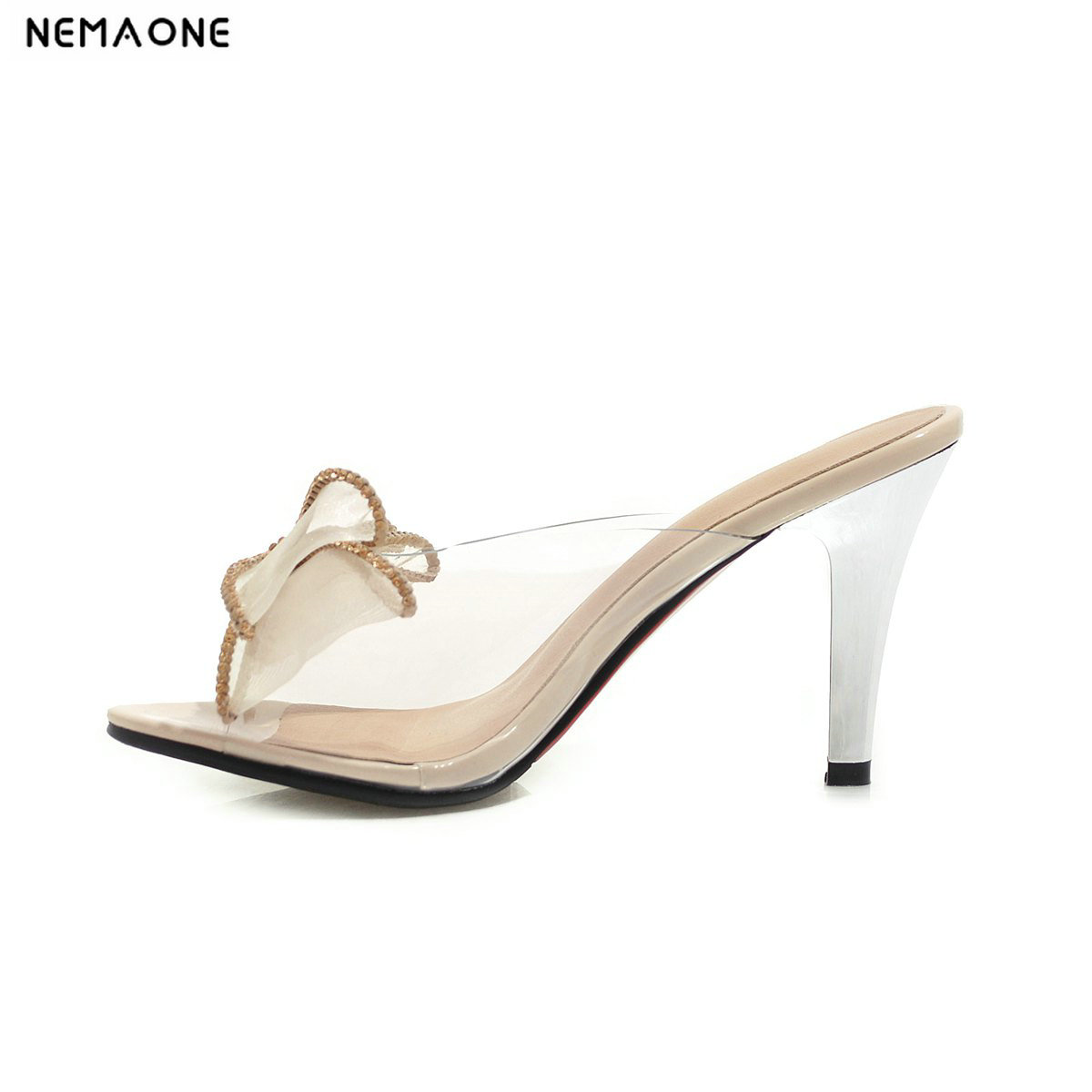 NEMAONE summer high heels slippers woman clear pvc bowties fashion slides big size mules ladies sandals large size 48