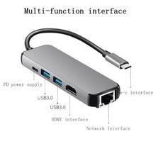 USB3.1 концентратора Тип-c к HDMI + RJ45 + 2 порт USB3.0 + PD адаптер конвертер для macbook pro