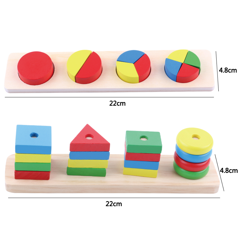 Puzzle en bois de forme géométrique jouet d'apprentissage précoce jouets éducatifs pour enfants jouer à des jeux cadeau coloré bébé enfants jouets en bois - 2