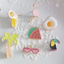 1 PCS Acrylic Badges Flamingo Fruit Brooch Icons on The Backpack Harajuku Badges for Clothing Kawaii Badge Icon on The Pin Broch(China)