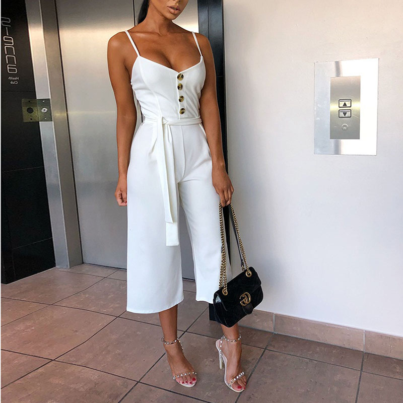Junnior Womens Summer Sexy Jumpsuits Rompers Elegant Belt Bandage Buttons Casual Wide Leg Pant White Spaghetti Strap Jumpsuit
