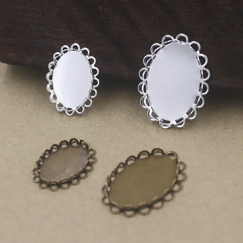 10pcs <font><b>Oval</b></font> <font><b>Cabochon</b></font> 13x18/<font><b>18x25mm</b></font> Setting Silver Plated Blank Brooch Tray Double Lace Base DIY Pendant Accessories Supplier image