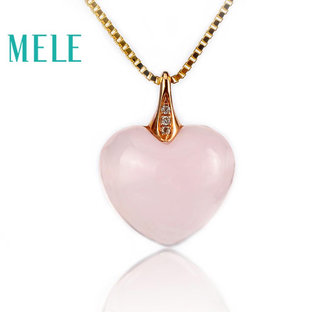 MELE natural rose quartz pendants wtih 18k gold,heart shape pink gemstone fine jewelry for women fine jewelry collection real 18k white gold natural green jade gemstone animal shape pendant necklace fine pendants