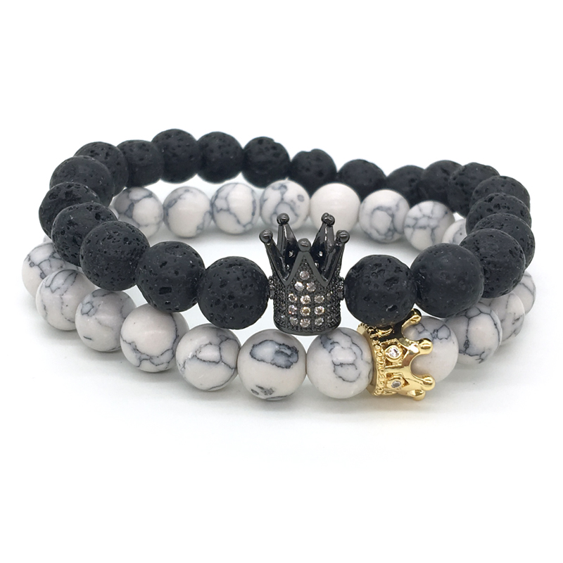 New Couple His And Hers Bracelets Distance Black Lava