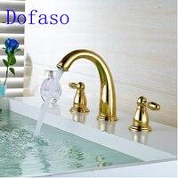 Dofaso brass golden bathtub shower faucet 5pcs Deck Mount Bath Mixer Taps Widespread Tub Faucet
