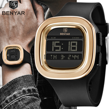 Benyar Luxury Brand Mens Sports Digital LED Watches Dive 50m