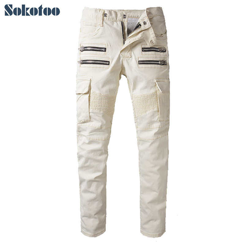 ФОТО Sokotoo Men's fashion lightweight stretch denim biker jeans Male light yellow beige pockets cargo pants Long trousers