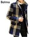 2016 casaco de inverno Homens Dos Homens único Breasted Outerwear Casual xadrez Casaco Corta-vento dos homens Revestimento Dos Homens