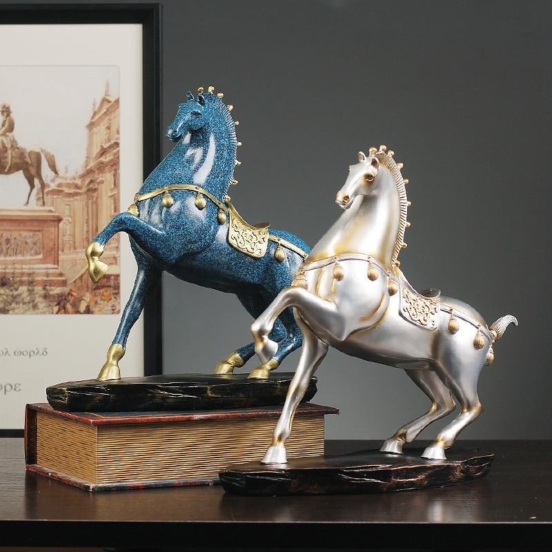 Cheval créatif à la réussite ornements résine artisanat cheval Statues maison décoration accessoires bureau Feng Shui affichage cadeaux chanceux - 5