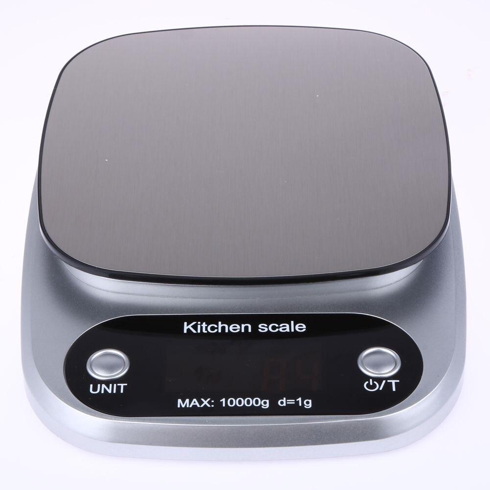Küche Waagen Essen Backen Gewicht Digital LCD Elektronische Waage 10 kg (silber)