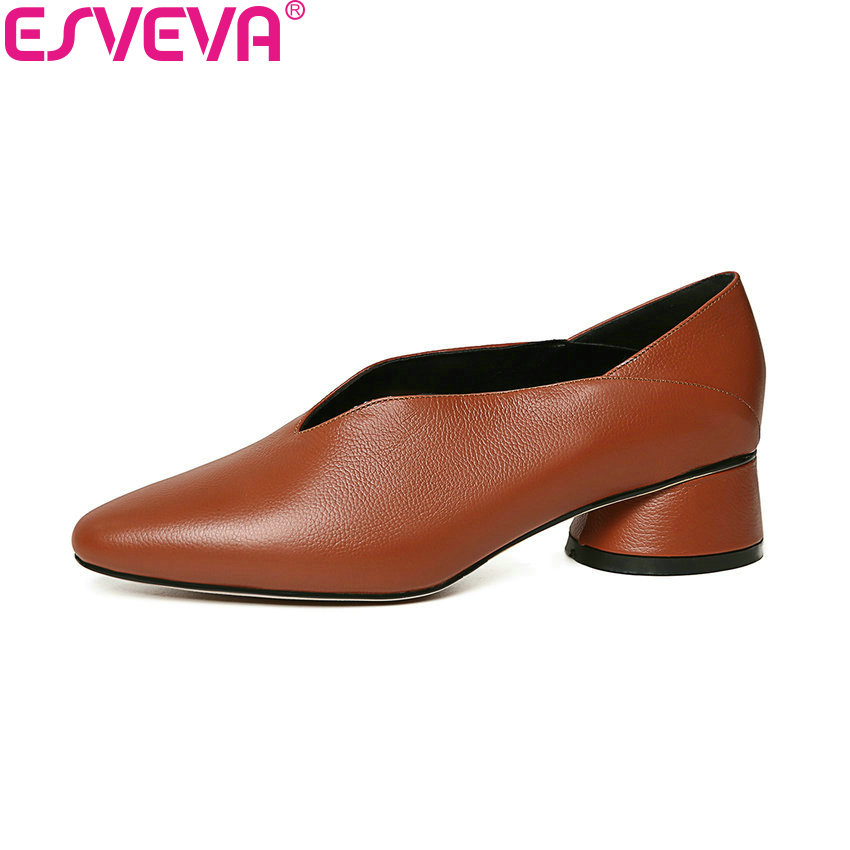 ESVEVA 2018 Women Pumps Spring and Autumn Western Style Square Med Heels Pointed Toe Cow Leather PU Ladies Shoes Size 34-39 esveva 2017 new pointed toe pu women pumps lace up british style fashion shoes women spring square high heel pumps size 34 39