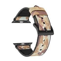 Камуфляж Стиль кожа силиконовой лентой для Apple Watch 38mm 42 мм кожи для Apple iWatch 40 мм 44 мм Series1 2 3 4 Balck адаптер