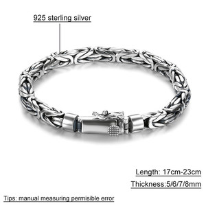 Image 5 - V.YA Solid 925 Sterling Silver Bracelets for Men Cool Punk Style 5 8mm Heavy bracelet argent homme Mens Jewelry BY028