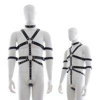 Chastity Belt Pu Leather Neck Collar Bodysuit Harness Clothing Men Gay Bondage Bdsm Restraint Sexy Lingerie Sex Toys Costume