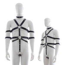 Chastity Belt Pu Leather Neck Collar Bodysuit Harness Clothing Men Gay Bondage Bdsm Restraint Sexy Lingerie Sex Toys Costume