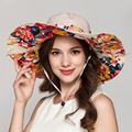 Bohemian Floral Bucket Hat Sunscreen Waterproof Large Brim Beach Caps Summer Floppy Panama Ladies Hats Church Fedora Sunbonnet