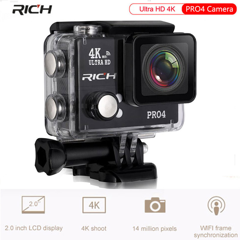 Action camera PRO4 Ultra HD 4K 1080P Wifi 14MP 4416 * 3312 1500mah 170 Wide Lens waterproof 45M Extreme Sport camera