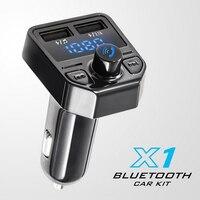 Dual USB Car Charger Voltmeter Bluetooth FM Transmitter Car Kit MP3 Player TF USB Disk Digital Volt Meter Fast Phone Charger