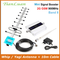 TianLuan LCD Display Mini GSM Repeater 900MHz Cell Mobile Phone GSM 900 Signal Booster Amplifier + Yagi Antenna with 10m Cable
