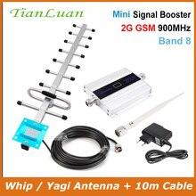 TianLuan Màn Hình LCD Hiển Thị Mini GSM Repeater 900 MHz Tế Bào Điện Thoại Di Động GSM 900 Tăng Cường Tín Hiệu Khuếch Đại + Yagi Anten 10 m Dây Cáp