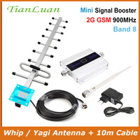 Tianluan lcd 디스플레이 미니 gsm 리피터 900 mhz 셀 휴대 전화 gsm 900 신호 부스터 증폭기 + yagi 안테나 10 m 케이블