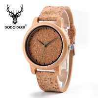 DODO DEER Fashion Wooden Watches Wrist Men Cork Strap Quartz Male Customized Gift For Friend Son Father Accept DropShipping A05