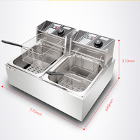 Stainless Steel Deep Fryer Commercial Cooking Machine Double Tank Electric Fryer French Fries Fried Chicken Fryer