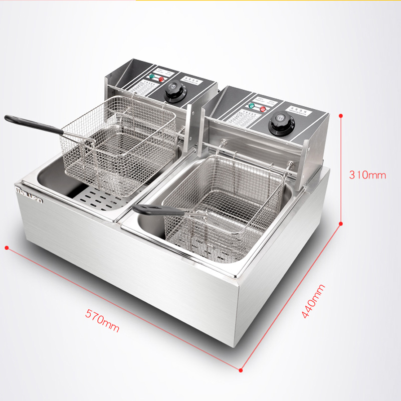 stainless steel deep fryer/ commercial cooking machine /double tank electric fryer/french fries fried chicken fryer WK-82 1pc gas type stainless steel food fryer french fryer potato fryer single cylinder double sieve fryer