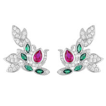 SisCathy Noble Symbol Handmade Cubic Zirconia Shiny bijoux Earrings Luxury Blooming Flowers Silver Stud for Women Gift